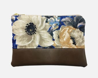 Zipper Clutch Purse, Ivory and Blue Floral