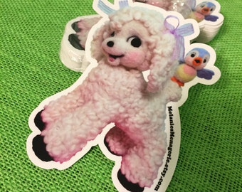 Melanie's Menagerie Vinyl Sticker of Lamb and Bluebird Friend