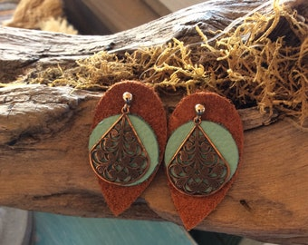 Leather and copper boho earrings