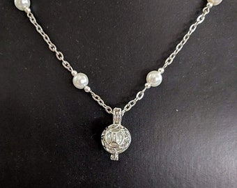 Pearl or Moonstone Necklace with Gemini or Cancer Zodiac Pendant