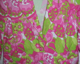 Jacket 12,  Pink and Green Cotton Jacket,  size 12 Perfect