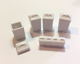 Miniature Kitchen Dollhouse Miniatures White Canister Set of 9 Plastic 1:12 Scale Diorama Shadow Box Accessory - 451