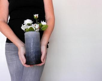 Black ombre Vase / black home decor / handcrafted vase / black flower vase / cylinder vase