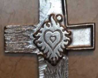 Silvertone Woodgrain Cross with Flaming Heart Motif