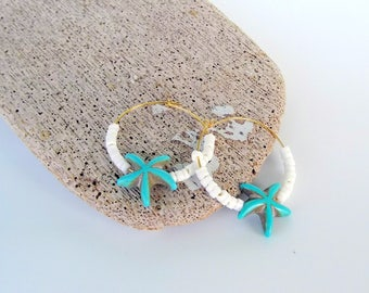 Aqua Starfish Earrings, Dangly Cute Star Fish Charms with Freshwater Pearls, Clip On Available, Gift Boxed