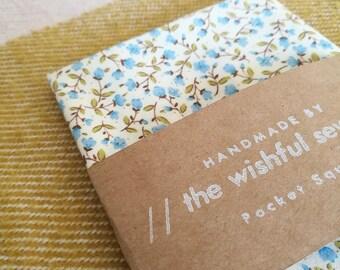 Japanese cotton blue floral pocket square // floral pocket square / blue pocket square / wedding pocket square / men's handkerchief