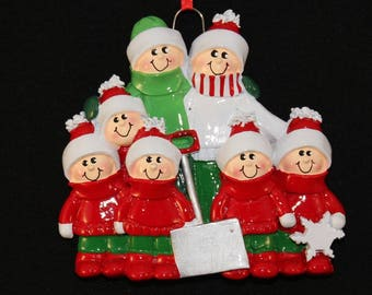 Family of 7 with Snow Shovel Personalized Christmas Tree Ornament