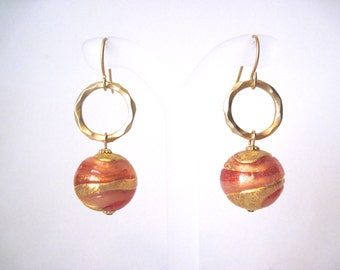 Peachy coral with gold swirl earrings Venetian  glass