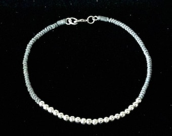 Gray Macrame Ankle Bracelet with Silver Color Bead