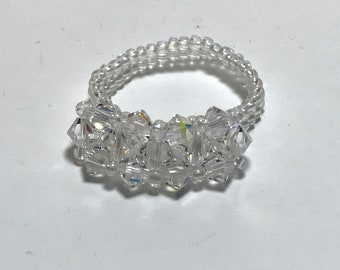 Clear Swarovski Crystal Beaded Ring