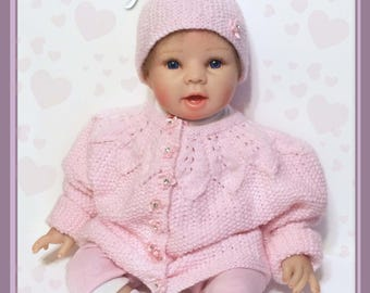 Pink Baby Cardigan with Hat-Hand Knitted Pink Baby Jacket-Baby Hat-Baby Shower Gift