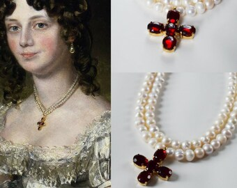 Pearl and Paste Garnet Cross Necklace, Regency Jewelry, Reproduction Jewelry, Garnet Cross, 18th Century 19th Century, Paste Cross Georgian