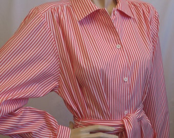 80s Cotton Candy Striped Shirt Dress in a size Large