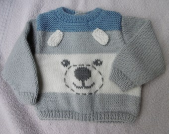 sweater jacket with mittens and hat knitted for babies and children