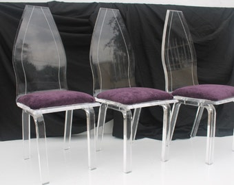 Set Of 3 High Shell Back Lucite Dining Chairs.
