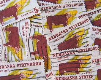 Brown Cow 30 Vintage US Postage Stamps Nebraska Statehood Omaha Lincoln NE Midwest Dust Bowl Americana Steak Scrapbooking Ephemera Philately