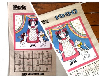 Vintage 1990 calender towel wall decor Miele Calender wall hanging linen towel cute girl with dog and cat