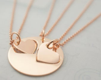 Rose Gold Filled Mother Daughter Necklace Set - Custom Cut Hearts in Pink GF by EWD - Two Daughter Design - Jewelry Gifts for Mother's Day