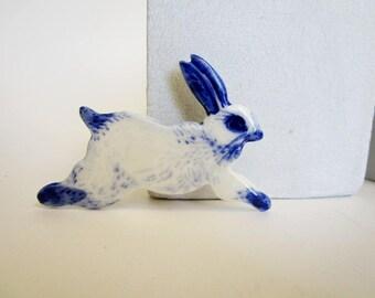 Porcelain White  Rabbit Brooch - Handpainted Blue Delft Porcelain