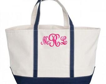 Monogram Boat Tote Bag, Personalized Canvas Bag, Zipper Top, Large Tote 5 Colors