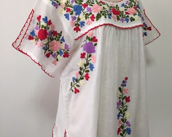 Mexican Embroidered Blouse Split Sleeve Cotton Top In White, Boho Blouse