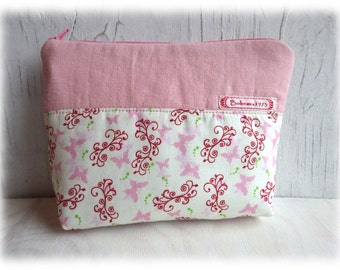 butterfly - pouch Makeup Bags makeup bag mini bag pink delicate pastel casual