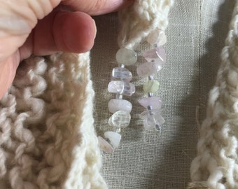 Mindful Wrap, Wearable Fiber Art-Pink Kunzite Beads on a Hand Spun Mongolian Cashmere Mindfulness Mantle