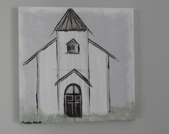 Open Doors Church Painting - 12 x 12