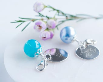 Sterling 'Something Blue' Bouquet Charm, Wedding Flower Charm, Personalized Flower Charm (OHSO713)