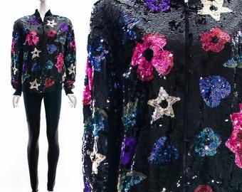 Vintage Rare Heavily Black Sequin Bomber Jacket Colorful Hearts Flowers Stars Zip Up Jacket Small Medium