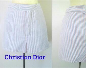 Christian Dior Swim Short Trunks Mid Century Seersucker Striped Resort Swimwear