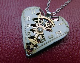 "Elegant Industrial Watch Parts Heart Necklace ""Kinsale"" Pendant Clockwork Mechanical Gear Love Gift Wife Girlfriend Birthday Gift"