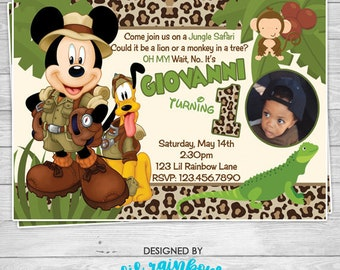 659-03: DIY - Mickey Mouse Jungle Safari Party Invitation Or Thank You Card