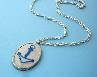 Embroidered Anchor Necklace - Silver, Blue