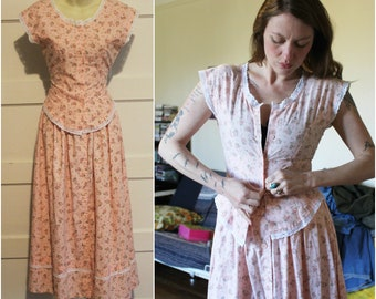 Gunne Sax Style 80s Prairie Dress 70s Two Piece Separates Blouse Skirt Hippie Boho Bohemian Country Western Pine Floral Lace Romantic Small