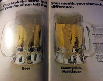 1970 Country Club malt liquor or Beer Double Page vintage magazine ad  (1705)