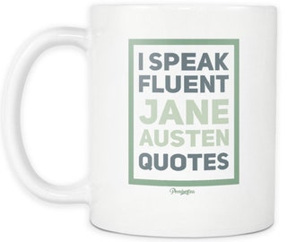 Jane Austen Quotes 11oz Mug - in Green