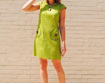 Green and Brown Polka Dot Mini Sheath Dress