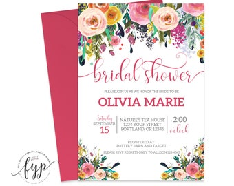 Bridal Shower Invitation Printable Floral Wedding Shower Invite