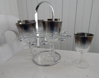 Silver Ombre Vintage Cordial Set - Dorothy Thorpe Style Six-Piece Cordial Set with Chrome Holder - Mid Century Modern Silver Ombre Barware
