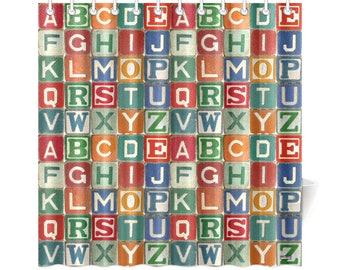 Vintage Childs Wooden Blocks Shower Curtain - alphabet letters abc wooden blocks childs bathroom