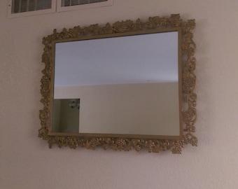 Vintage High Quality Filigree/Brass Wall Vanity Dresser Gold Mirror Grapevine Motif Ornate Extra Large Heavy Rectangular