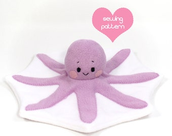 PDF sewing pattern - Octopus stuffed animal - easy DIY kawaii plushie softie plush toy 14""