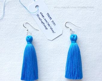 Blue Sky | Tassel Earrings. Sterling Silver Earrings & Silk Tassels.