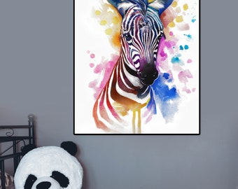 Zebra Print, Safari Nursery Decor, Zebra wall art, Safari Nursery Prints, Safary Animal Art, Zebra Art print, Digital download