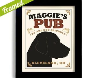 Bar Art Labrador Retriever Art Black Dog Art Print Labrador Art Personalized Dog Art Black Lab Pub Decor Dogs Name Art Custom Dog Art