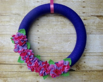 Summer Felt Flower Wreath, Felt Flower Wreath, Hydrangea Wreath, Spring Felt Wreath