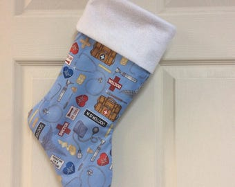 """Doctors or nurses or any person in a medical fields , Chrismas Stocking with your name, 18"""" X 8"""""""