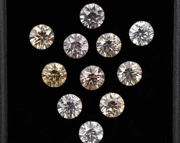 Brilliant Silver White Zircon Gemstone Set 4.5 mm Rounds 6.35 tcw.
