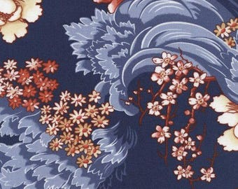 """Floral Fabric: Timeless Treasures Revive Charleston Asian Cherry Blossom on Navy Blue 100% cotton Fabric by the yard 36""""x44"""" (TT354)"""